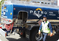 Petrol Oil Truck and Employee