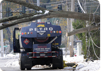 Petro Heating Oil truck assisting during a winter storm - we're there for you 24/7!