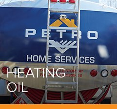 Homepage image: Petro truck offering home heating oil services arrives for a customer