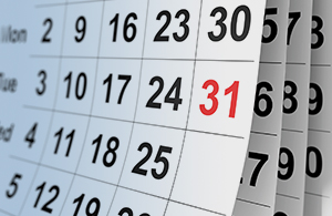 calendar with the 31st marked in red