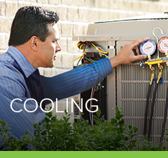 Petro air conditioning services technican checking on a A/C unit