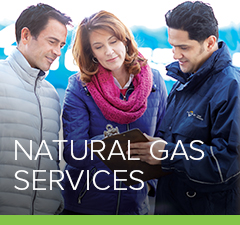 Petro employee discussing natural gas services with two customers