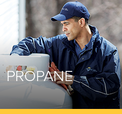 Petro propane technician services a customer's home installation