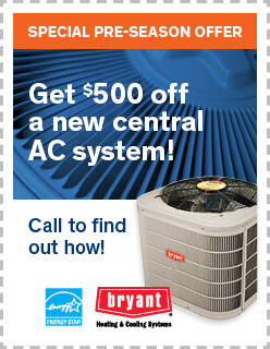 AC season coupon: $500 off a new central AC system