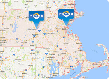 Map of Petro Home Services locations in Massachusetts